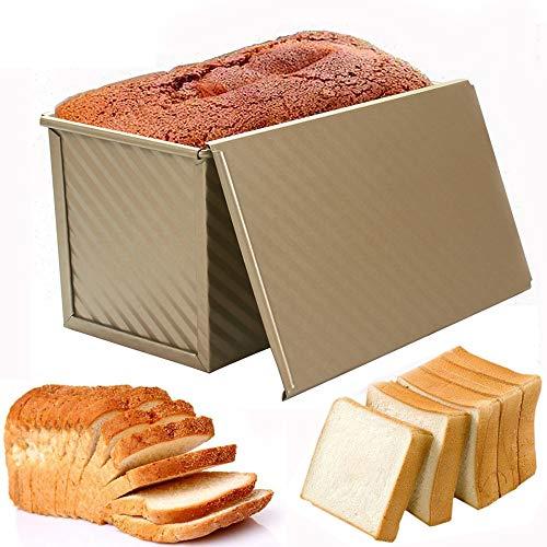 Kastenform zum Backen, antihaftbeschichtet, Toastpfanne mit Deckel, Backen Pullman Brotbackform Backblech, Toastbox/Sandwichform Toastform, gewellter Stil, Gold