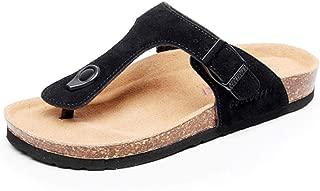 Asifn Women's Sandal Cork Sandals Slide Flat Strap Buckle Girl Leather Footbed Adjustable Casual Double Toe Shoes Summer Open Platform Suede Flip Slides