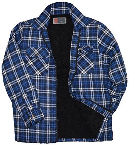 Thb Richter Karo Thermoshirt/jas met pluche vacht fleece bont binnenvoering houthakkerhemd werkhemd flanelhemd geruit gevoerde ritssluiting