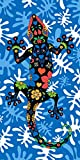 Miracle Home Toalla Microfibra Lagartija Playa, Multicolor, 75 x 145 cm