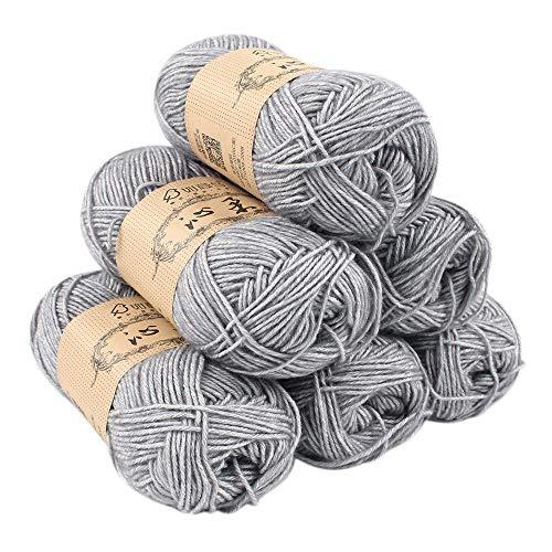 Handstrickgarn Baumwolle Grau 6er Pack 130m/1er Nadelstärke 3- 3,5, fürAlle Jahreszeiten(Grau)