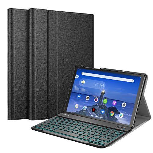 Fintie Funda con teclado para Lenovo Tab M10 FHD Plus/Smart Tab M10 FHD Plus 10.3' TB-X606, funda fina con [retroiluminación en 7 colores] magnética extraíble QWERTZ BT Keyboard, color negro