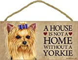 SJT ENTERPRISES, INC. A House is not a Home Without a Yorkie (Brown face with Bow in Hair) Wood Sign Plaque (SJT63979)