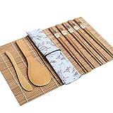 Toyvian El kit para hacer sushi de bambú incluye 2 esteras para enrollar sushi 1 toalla 1 paleta de arroz 1 esparcidor de arroz 5 pares de palillos - 15 piezas