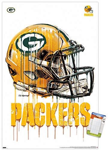 Trends International NFL Green Bay Packers - Drip Helmet 20 Wall Poster, 22.375' x 34', Poster & Mount Bundle