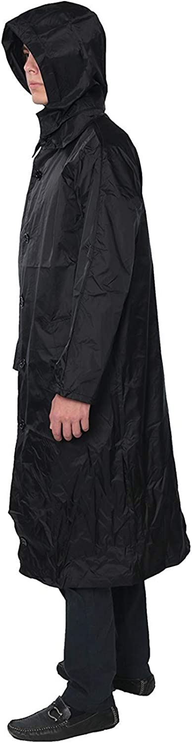 Mens 100% Nylon Long Raincoat - Zip in Hood - with Travel Pouch