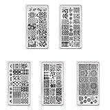 TrifyCore Arte de Uña Estampado Templates Plantas y Amimals Multi-Estilo Diseño de Imagen Placas para Manicura Imprimir Herramienta (XY-J11 a XY-J15)5 Unids