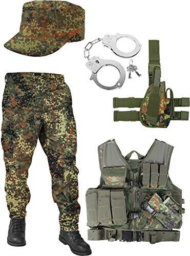 normani United States Marine Corps Kostüm Set bestehend aus Weste, Hose, Handschellen und Feldmütze Farbe Flecktarn Größe 3XL