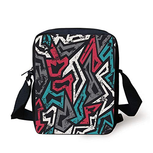 CBBBB Grunge,Abstract Shapes in Graffiti Art Style Underground Hip Hop Culture Funky Street Wall,Multicolor Print Kids Crossbody Messenger Bag Purse