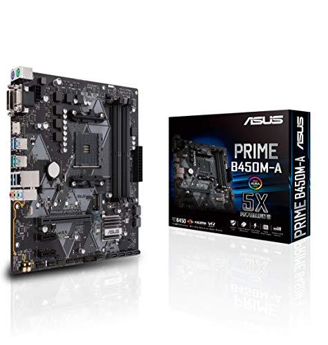 Asus PRIME B450M-A Scheda Madre AMD AM4 mATX con Connettore Aura Sync RGB, DDR4 3200MHz, M.2, HDMI 2.0b, SATA 6Gbps e USB 3.1 Gen 2, Nero