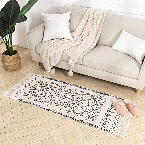 hi-home Boho Teppich, Baumwolle Gewebte Teppiche Waschbar Läufer Badteppich mit Quasten für Schlafzimmer Eingangstür Küche Badezimmer 60x130cm(Beige)