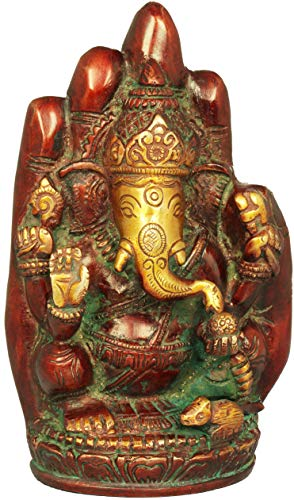 Exotic India Lord Ganesha in Blessing Hand - Brass Statue - Color Double Chola Color