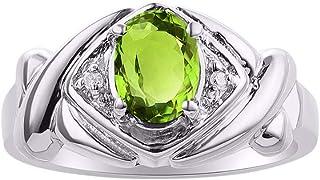 Diamond & Green Peridot Ring Set In Sterling Silver - XOXO Hugs & Kisses Design