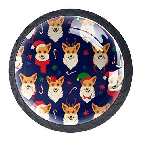 4 pomos de cristal para gabinete, 30 mm, tiradores de cristal para cajones de armario, tiradores para cocina, baño, bonito perro con sombrero de Navidad