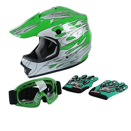 SLMOTO DOT Youth Kids Motocross Offroad Street Helmet Motorcycle Helmet Dirt Bike ATV Green Flame Helmet+Goggles+Gloves