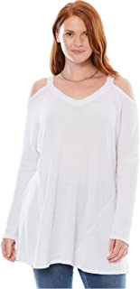 Plus Size Thermal Cold-Shoulder Tunic - White, 34/36