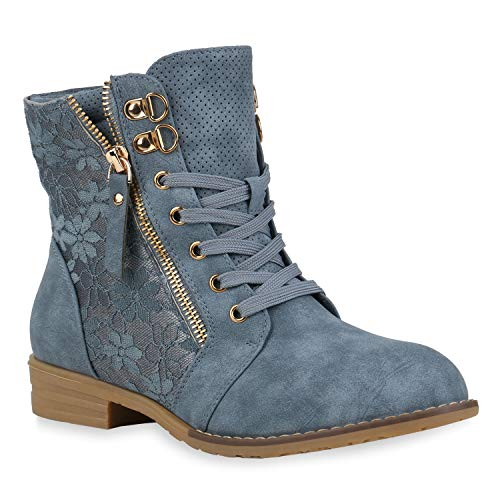 Stylische Damen Stiefeletten Worker Boots Spitze Knöchelhohe Stiefel Gesteppt Damen Leder-Optik...