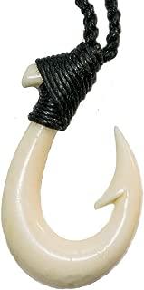 Island Sense Small Hawaiian Hand Carved Bone Fish Hook Necklace w/Black Cord.