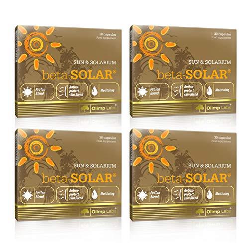 Olimp Labs beta-Solar   Tanning Accelerator Pills   Beta-Carotene   Max Strenght Deep Bronzed Tan   Safe Tanning (120 Capsules - 4 Boxes)