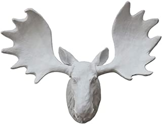 Statue Moose Head Wall Decoration Deer Head Porch Living Room Background Simulation 15.735.541.5cm Resin Figurine (Color : White)