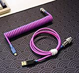 Custom Coiled Type-c USB Cable for Mechanical Keyboard Handwork Braided XLR Connector Spiral Paracord 100cm Version(Pink Purple)