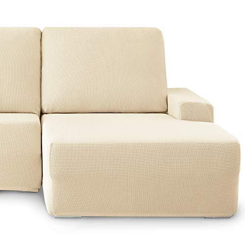 Eiffel Textile Monaco Elastica Adaptable. Funda Sofa Lisa, 94% poliéster 6% Elastano, Marfil, Chaise Longue Derecha