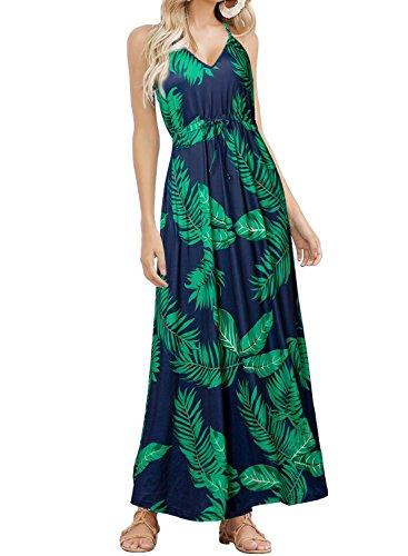 HUSKARY Womens Sleeveless V Neck Spaghetti Strap Pockets Beach Boho Tropical Summer Maxi Dress Dark Blue