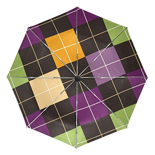 FANTAZIO Fantasio Reise-Regenschirm, Mehrfarbig, rechteckig, Fliesen, automatisch, leicht