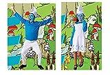 DM Disfraz de Duende Azul. Para niño y niña. Varias tallas. Incluye: Pantalón/Vestido, Jersey y Gorro. (Pitufo, 4-6 Años)