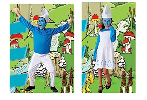 DM Disfraz de Duende Azul. Para niño y niña. Varias tallas. Incluye: Pantalón/Vestido, Jersey y Gorro.