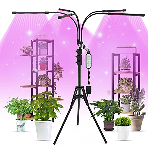 Aogled Pflanzenlampe LED 50W,5 Kopf Pflanzenlicht Vollspektrum mit Ständer,150 LEDs Grow Light mit Timing 4/8/12H,3 Modi,10 Lichtstärken Dimmbar Pflanzenleuchte für Sukkulenten,Tomaten,Zimmerpflanzen