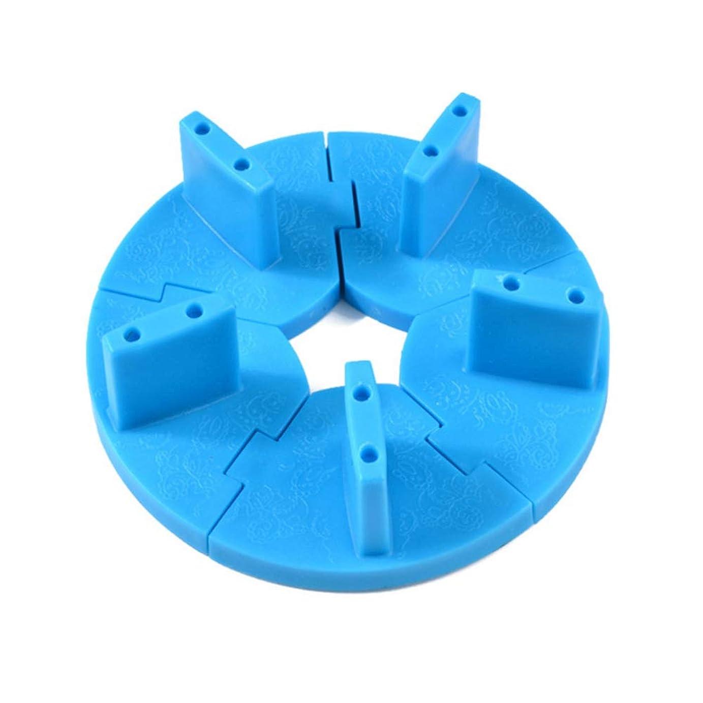 解放するライン雑草ネイルチップスタンド ネイル練習ツール ディスプレイホルダースタンド 組み立て式 固定チップ5個付き (ブルー)
