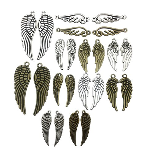 Youdiyla 54 PCS Pair Wing Charms Collection - Mixed Antique Silver Bronze Twain Couple Angel Eagle Wing Metal Alloy Pendants for Jewelry Making DIY Findings (HM83)