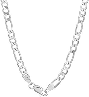 """Authentic Solid Sterling Silver Figaro Link .925 ITProLux Necklace or Bracelet Chains 3MM 4MM 5MM 6MM 7MM 7.5MM 8.5MM 10.5MM, 16"""" - 30"""", 8""""- 9"""", Made In Italy, Men & Women, Next Level Jewelry"""