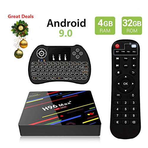 Android 9.0 TV Box, EstgoSZ H96 Max+ 4GB 32GB RK3328 Smart 4K TV Box Support H265 VP9 Video Decoding/2.4G 5GWifi/BT/100M LAN/KD18.0 USB3.0 Android TV Box with Backlit Wireless Keyboard