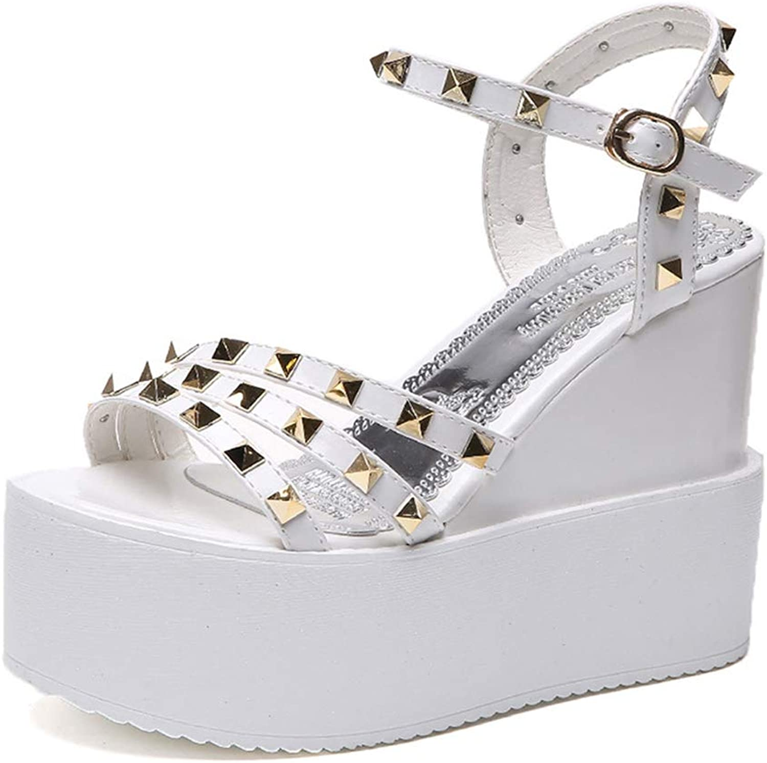 F1rst Rate Womens Platform Wedges Open Toe High Heel Sandals with Ankle Strap
