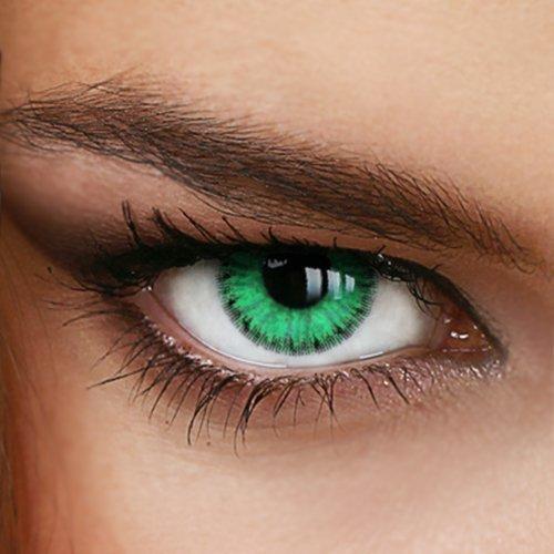 Farbige Jahres-Kontaktlinsen Ever Green - MIT und Ohne Stärke in GRÜN - von LUXDELUX® - ohne Stärke (+/- 0.00 DPT)