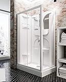 Schulte cabine de douche complète Malta, cabine de douche intégrale en kit avec porte coulissante, blanc, 120x80 cm