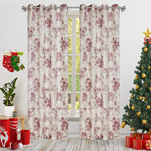 Red Rose Flower Print Curtains White Honeycomb Lace with Fancy Floral for Living Room 2 Panels Eyelet/Ring Top Transparent and Soft Rose Theme for Bedroom Door Curtain 63 inch Long
