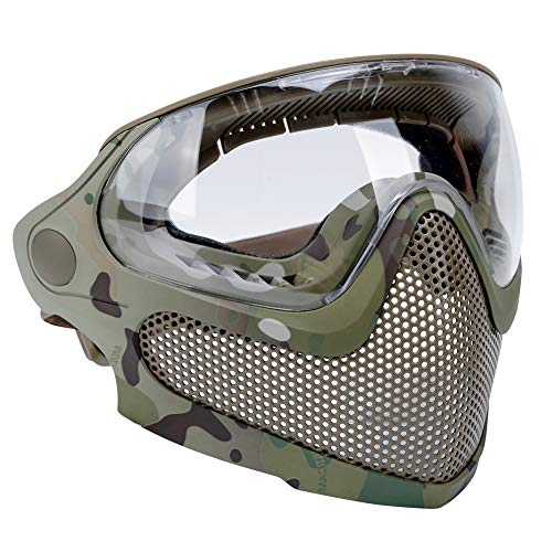 ATAIRSOFT Airsoft 2 Modes Tactical Safety Protective Full Face Mask Anti-Fog Goggles Set with 3 Interchangable Lens MC