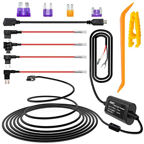 iiwey Dash Cam Hardwire Kit with Mini/Micro Port, 13ft Dashboard Camera Car Charger Cable Kit 12V- 24V to 5V, Power Adapter with LP/Mini/ATO/Micro2 Fuse for Dash Cam, GPS Navigator, Radar Detector