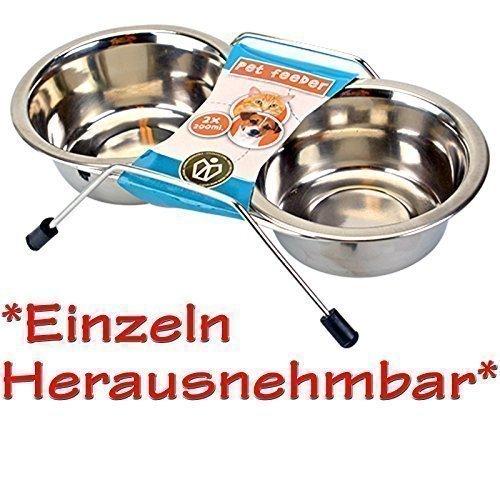 DRULINE 2 x 200ml Tiernapf Tiernäpfe Hundenapf Katzennapf Wassernapf Napf Futter Schale