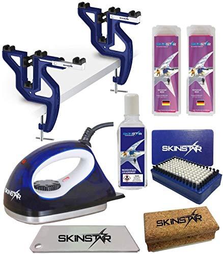 SkinStar Skiwax Set Skiwachs für Snowboard mit Wachsbügeleisen und Spanner