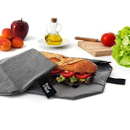 Roll'eat-Boc'n'Roll Eco - Stoffbrotdose | wiederverwendbarer ökologische Sandwichbeutel, BPA frei, verstellbare Sandwichverpackung, Farbe Anthrazitgrau, 11x15cm (geschlossen), 54x32cm (offen)