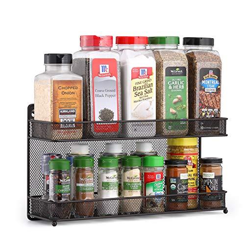 CAXXA 2 Tier Mesh Kitchen Counter-top or Wall Mount Spice Rack Jars Storage Organizer Bronze