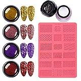 Moldes de silicona 3D Nail Art Set Gel en polvo para uñas Kit profesional para decoración de uñas DIY Suministros (A)