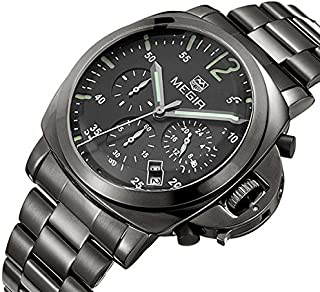 Megir Watch for Men, Stainless Steel Band, Chronograph, M-3006