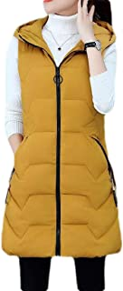 Macondoo Women Down Coat Cotton-Padded Winter Slim Fit Hooded Puffer Vest