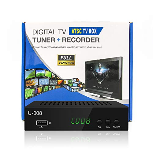 Analog-to-Digital TV Converter Box - UBISHING U-008 Set-Top Box/TV Box /ATSC Tuner, with TV Tuner, EPG, HDTV PVR Recording/Playback, HDMI, 1080P, Media Player, Suitable for All TV, Monitor, Projector