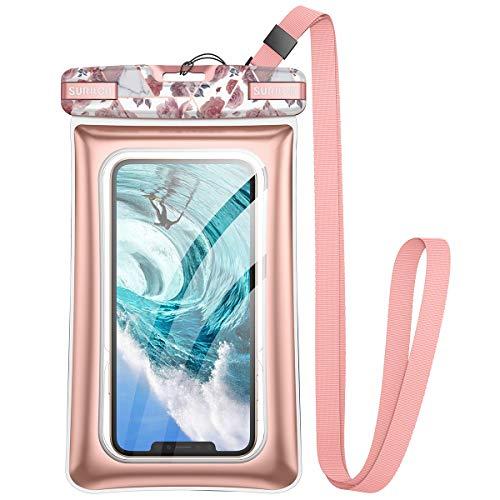 SURITCH Custodia Impermeabile Smartphone Borsa Porta Cellulare Subacquea Universale con Cordino Regolabile Finestre Trasparenti per iPhone 11/iPhone XR/X/8/7, P30/P20/A71, Galaxy S10/S9/8, Rosa